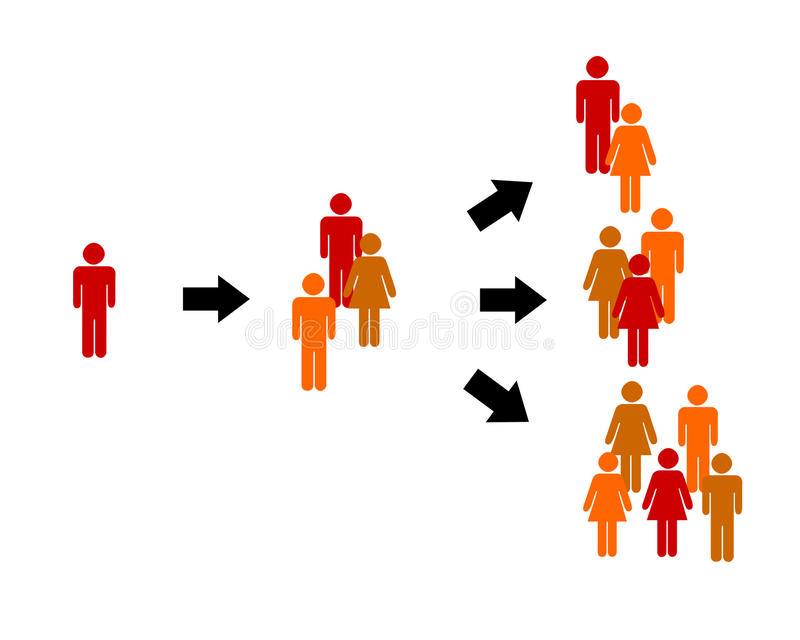 Network. Social network or hierarchy with lots of people interacting stock illustration