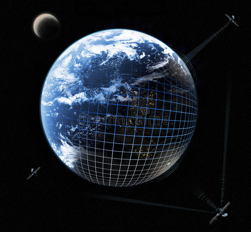 Network. Concept of connection satellites with Earth royalty free stock image