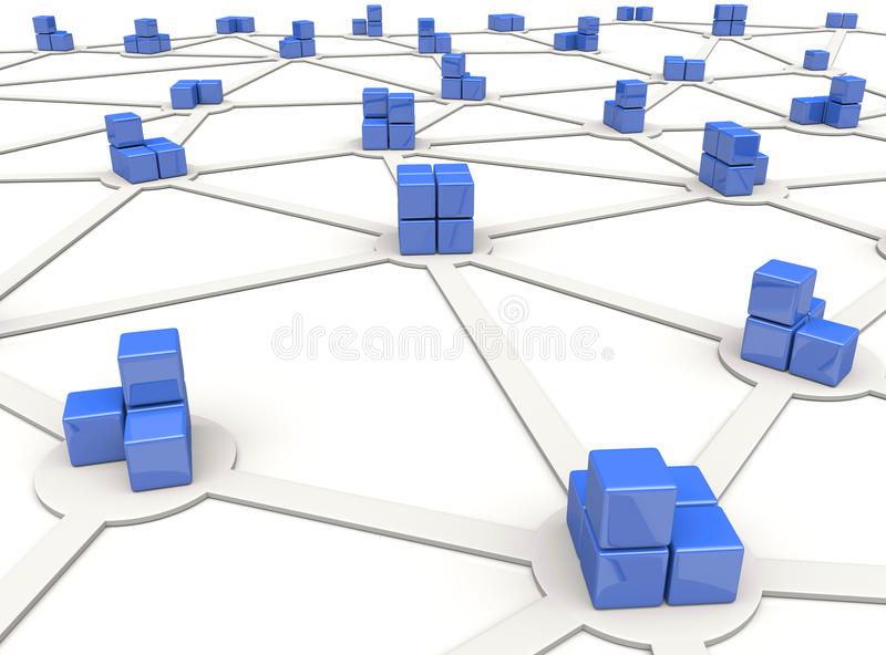 Network. Blue cubes as nodes of distributed network stock illustration