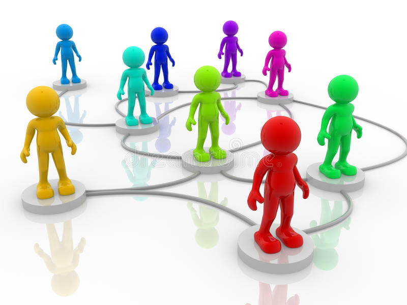Network. 3d people- human character arranged in a network. 3d render illustration royalty free illustration