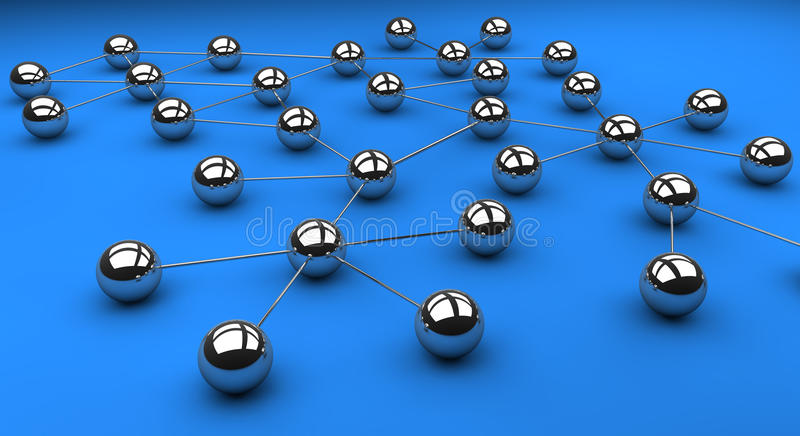 Network. Topology of a typical network structure vector illustration