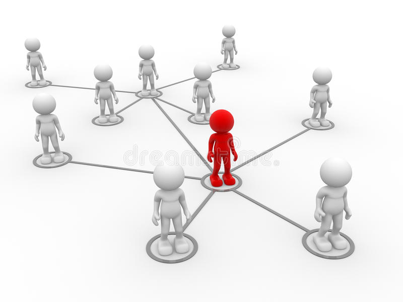Network. 3d people- men, person arranged in a network royalty free illustration
