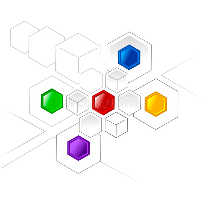 Network. Connected color hexagons and cubes for various projects royalty free illustration