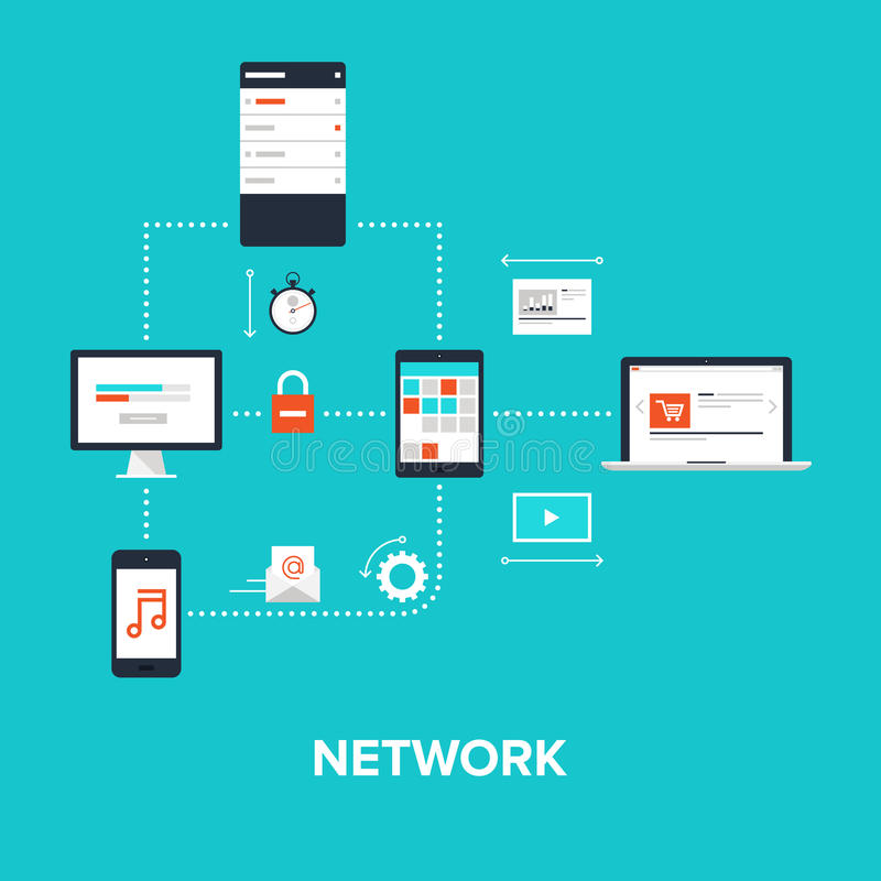 Network. Abstract flat vector illustration of network concept isolated on blue background. Design elements for web vector illustration