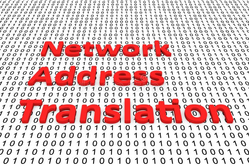 Network Address Translation. In the form of binary code, 3D illustration royalty free illustration