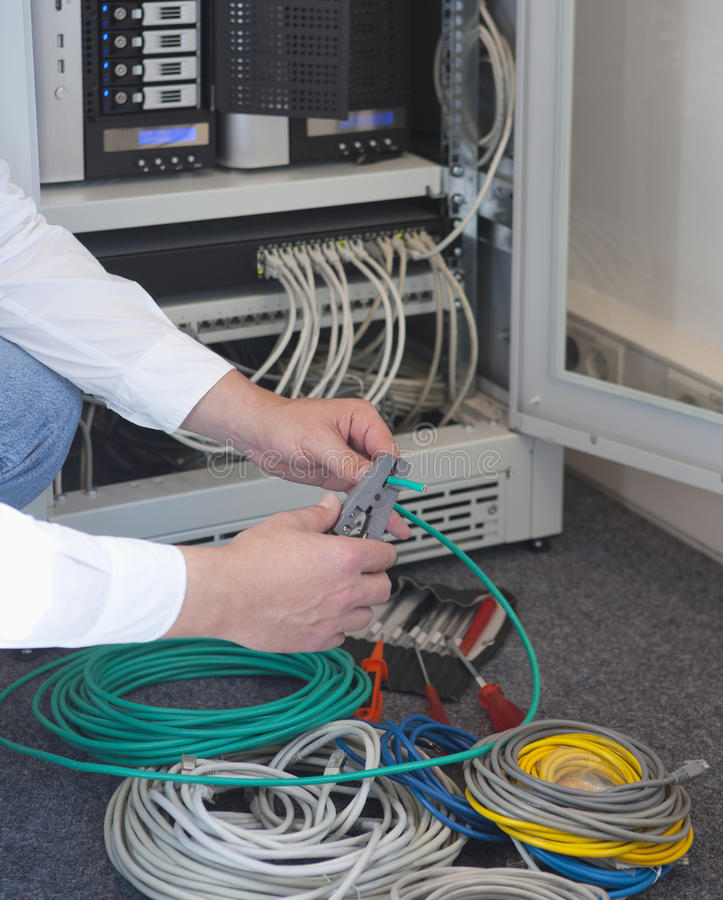 Network administrator. Is working on a server and installed cable