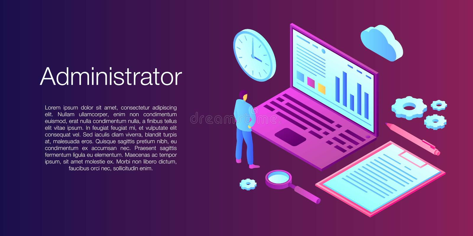 Network administrator concept banner, isometric style stock illustration