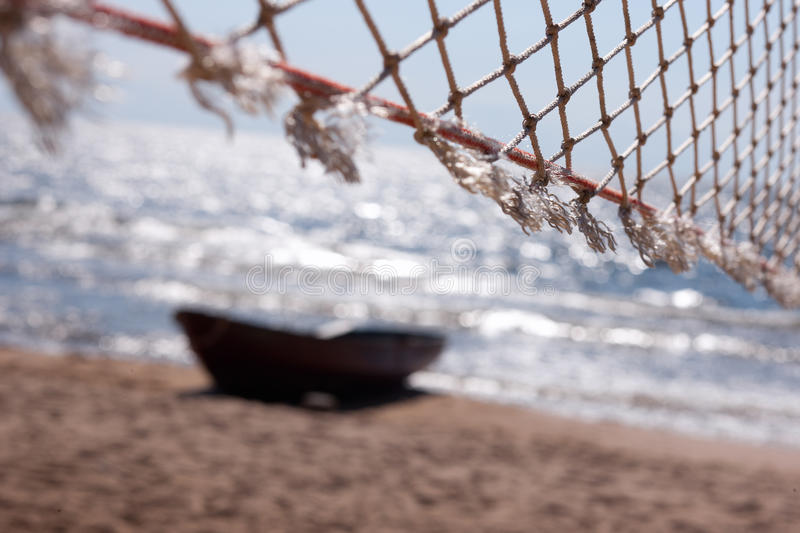 Download Network Against The Sea And Boats Stock Image - Image of rope, survivor: 20498935