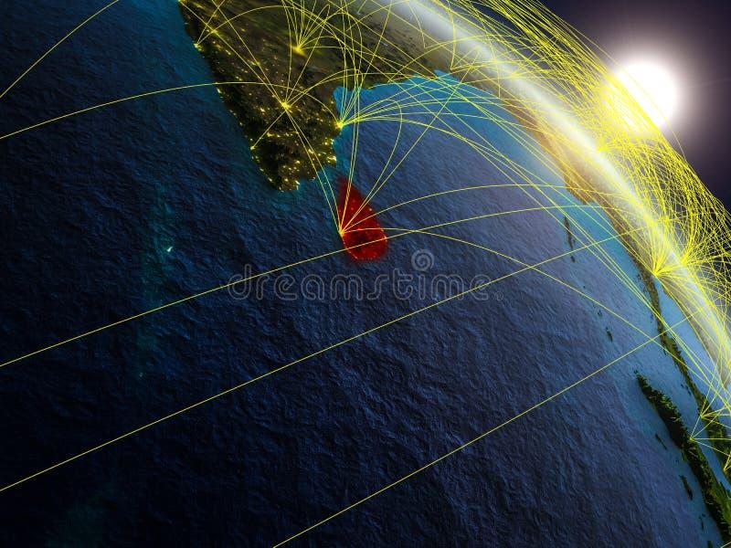Network around Sri Lanka from space royalty free illustration