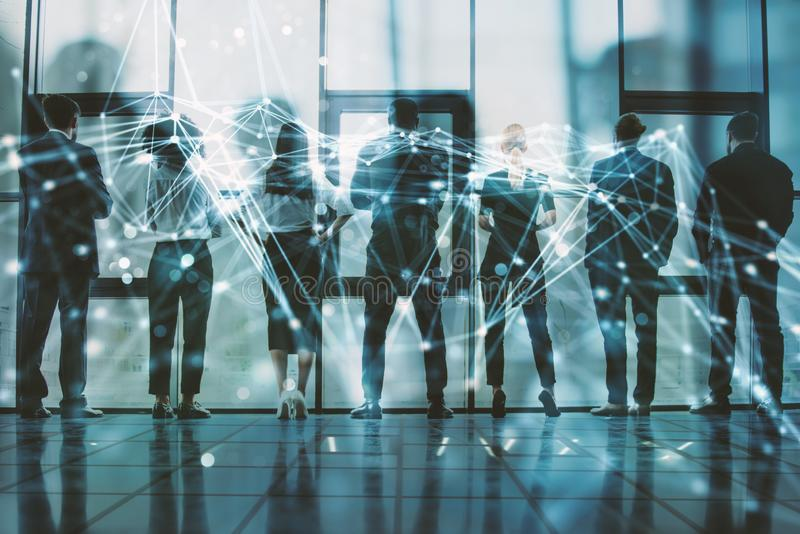 Network background concept with business people silhouette. Double exposure and network effects. Abstract concept of network infrastructure. Double exposure royalty free stock photo