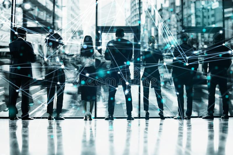 Network background concept with business people silhouette. Double exposure and network effects. Abstract concept of network infrastructure. Double exposure stock photo