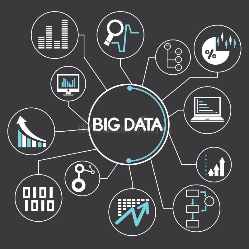Network, big data. Big data network, mind mapping, info graphics vector illustration