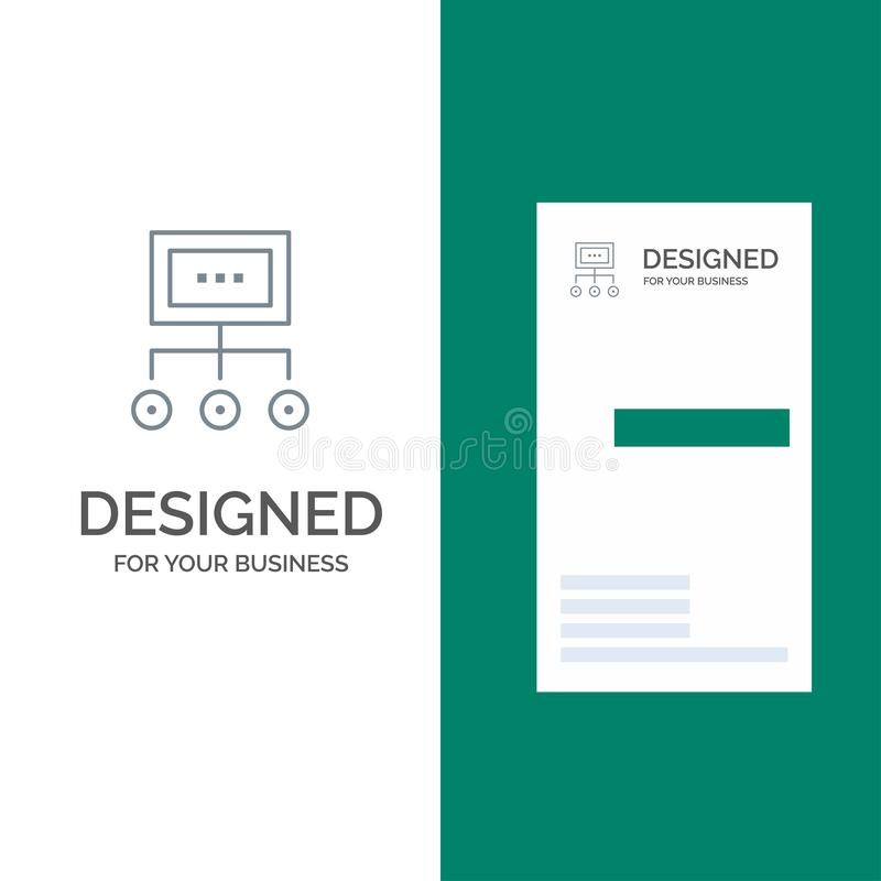 Network, Business, Chart, Graph, Management, Organization, Plan, Process Grey Logo Design and Business Card Template stock illustration