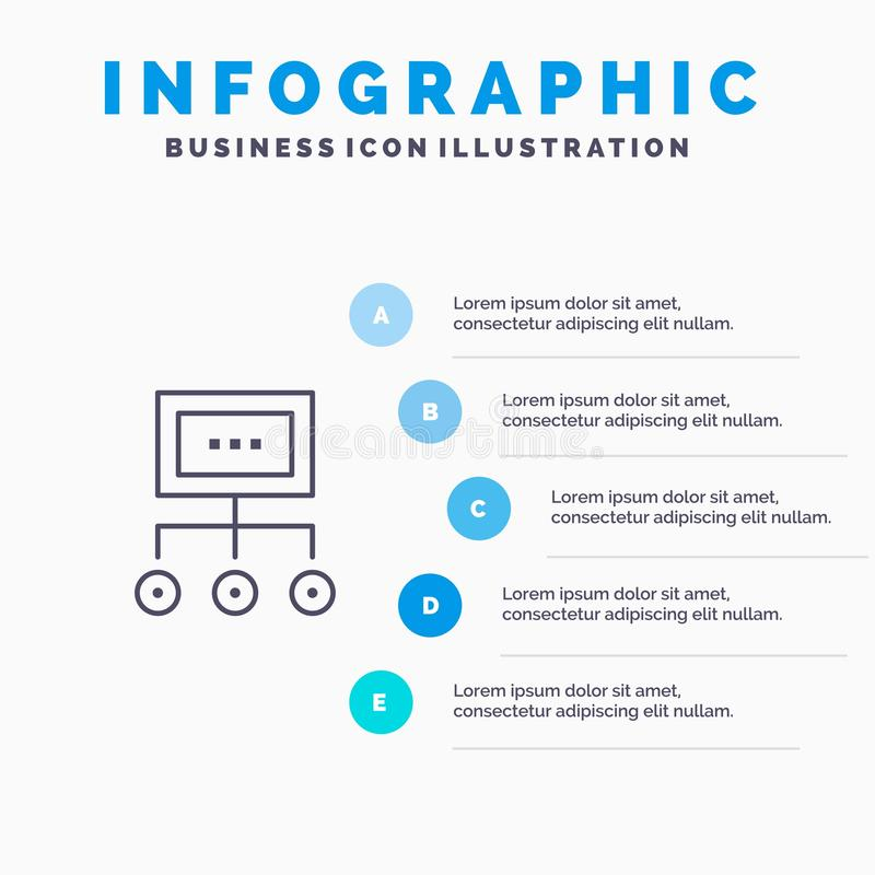 Network, Business, Chart, Graph, Management, Organization, Plan, Process Line icon with 5 steps presentation infographics. Background royalty free illustration