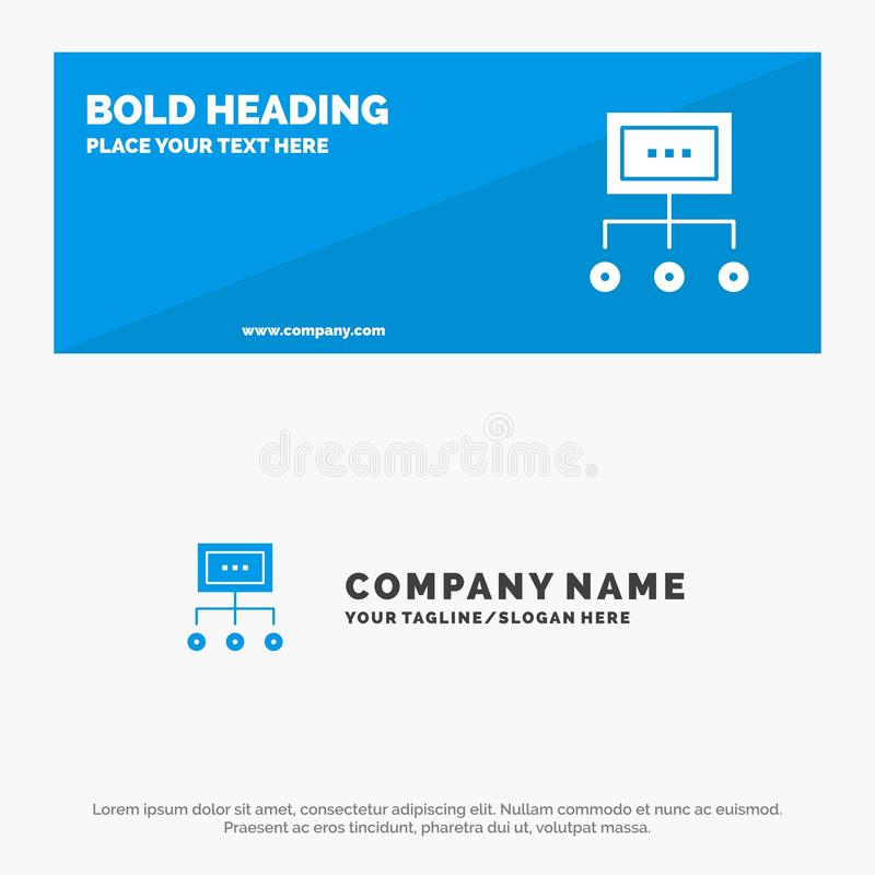 Network, Business, Chart, Graph, Management, Organization, Plan, Process SOlid Icon Website Banner and Business Logo Template royalty free illustration