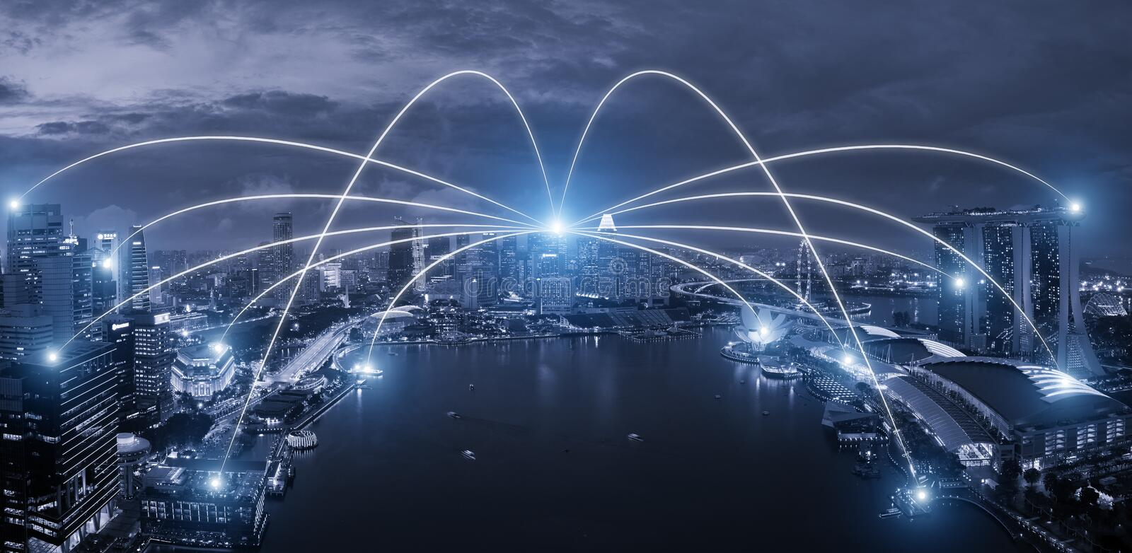 Network business conection system on Singapore smart city scape stock photo