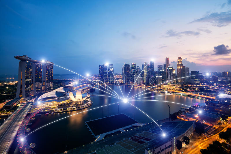 Network business conection system on Singapore smart city scape. In background.Network business conection concept stock photos