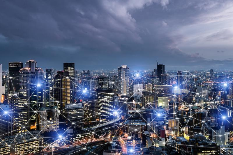 Network business connection system on Osaka smart city scape in background. Network business connection concept stock illustration