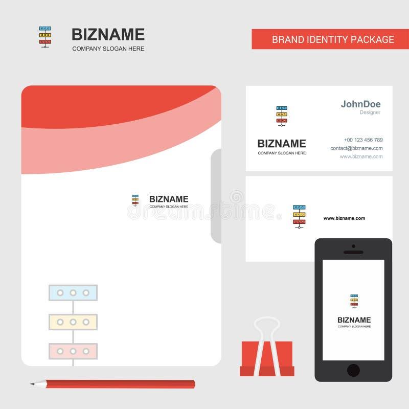Network Business Logo, File Cover Visiting Card and Mobile App Design. Vector Illustration stock illustration