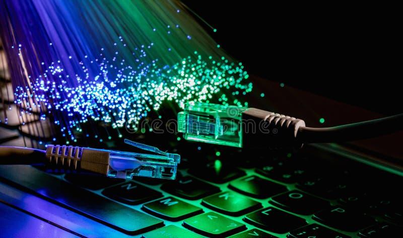 Fiber optics lights abstract background, fiber optical background royalty free stock photo