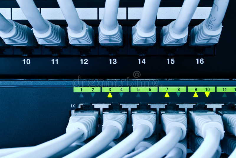 Network cables. Patch panel and switch