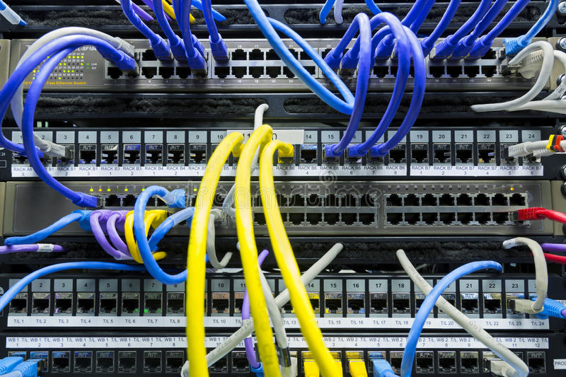 Network cables connected to the server stock photos