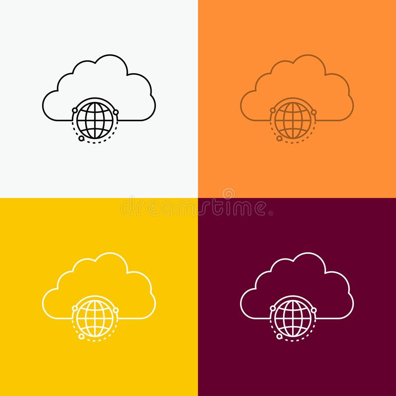 network, city, globe, hub, infrastructure Icon Over Various Background. Line style design, designed for web and app. Eps 10 vector stock illustration