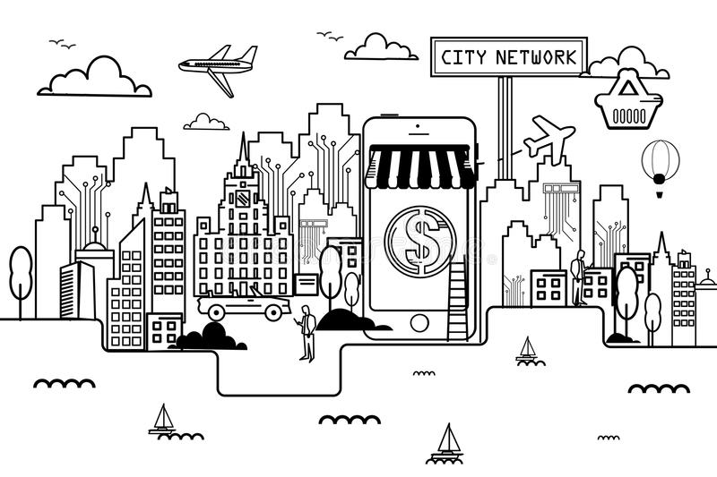 Network City On line shopping. Liner vector illustration
