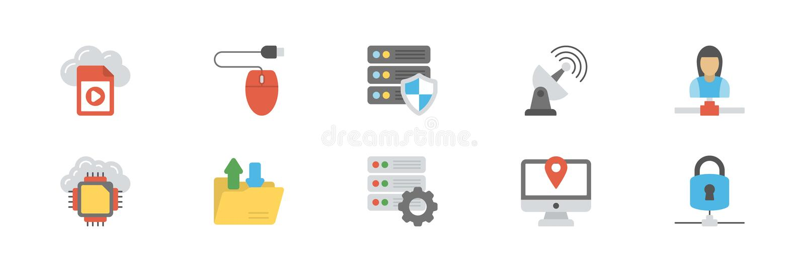 Network and Cloud Computing Icon Pack stock illustration