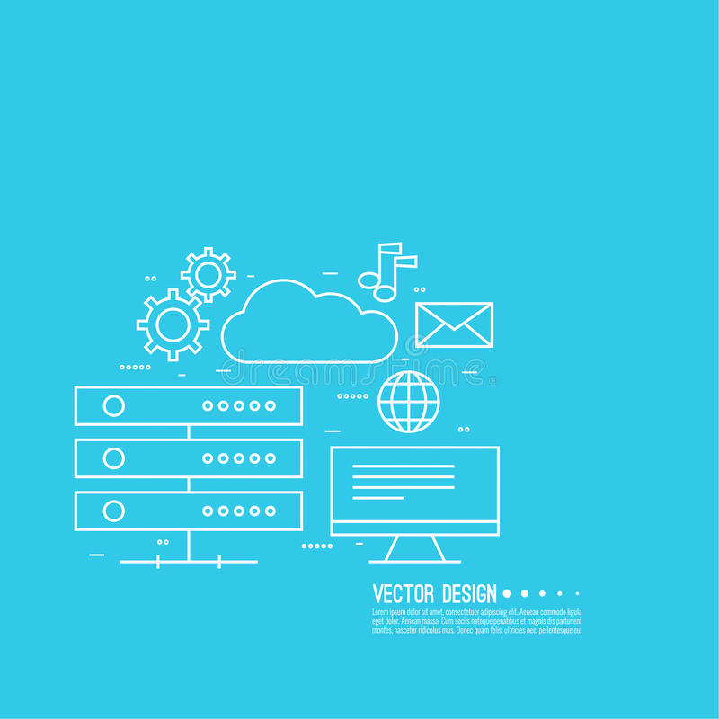 Network cloud computing. royalty free illustration