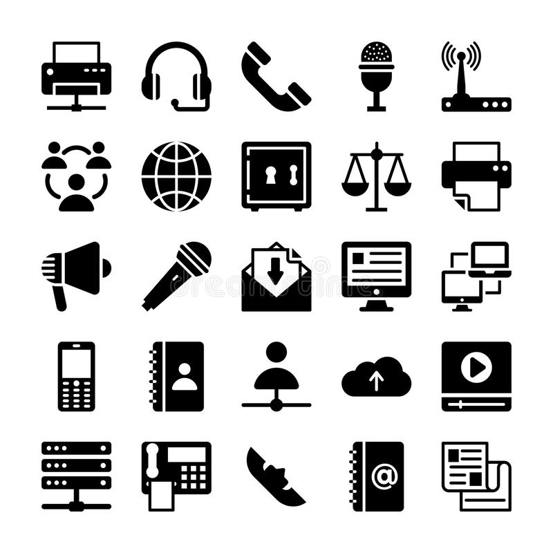 Network and Communication Vector Icons 5 stock illustration