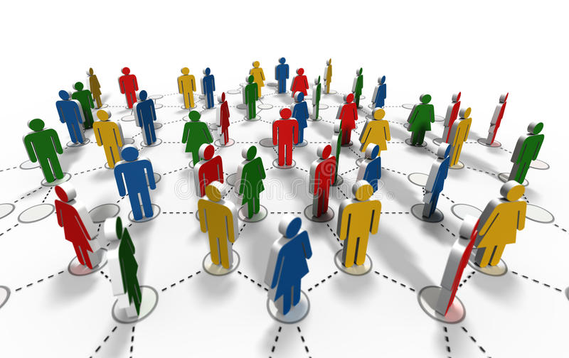 Network community. Render 3d - people in connection vector illustration