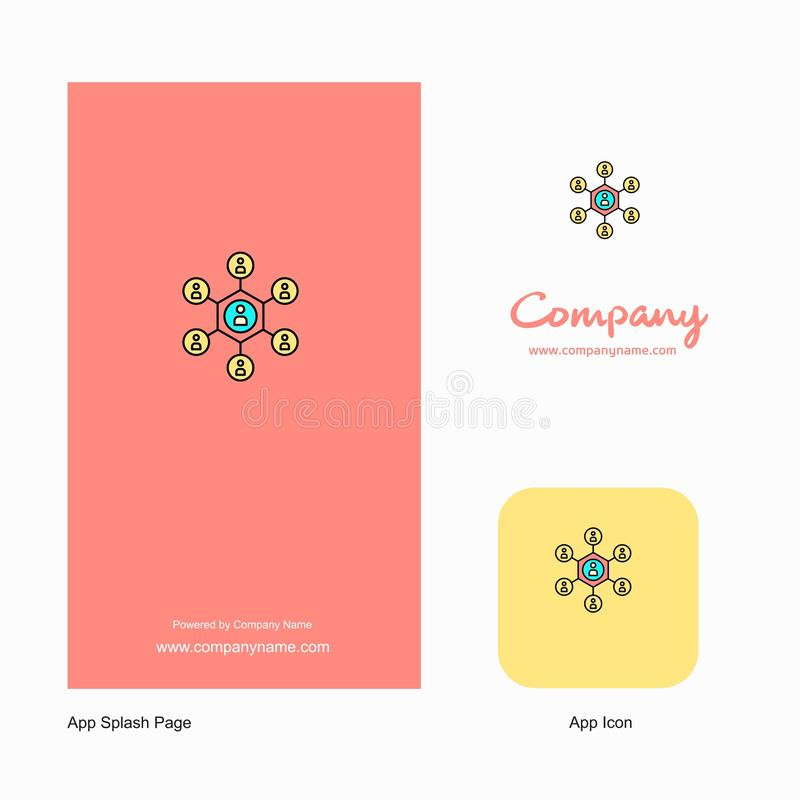 Network Company Logo App Icon et conception de page d'éclaboussure Éléments créatifs de conception d'appli d'affaires illustration stock