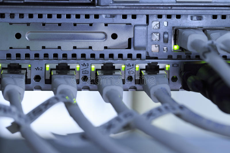 Network. A computer network in a server room royalty free stock photos
