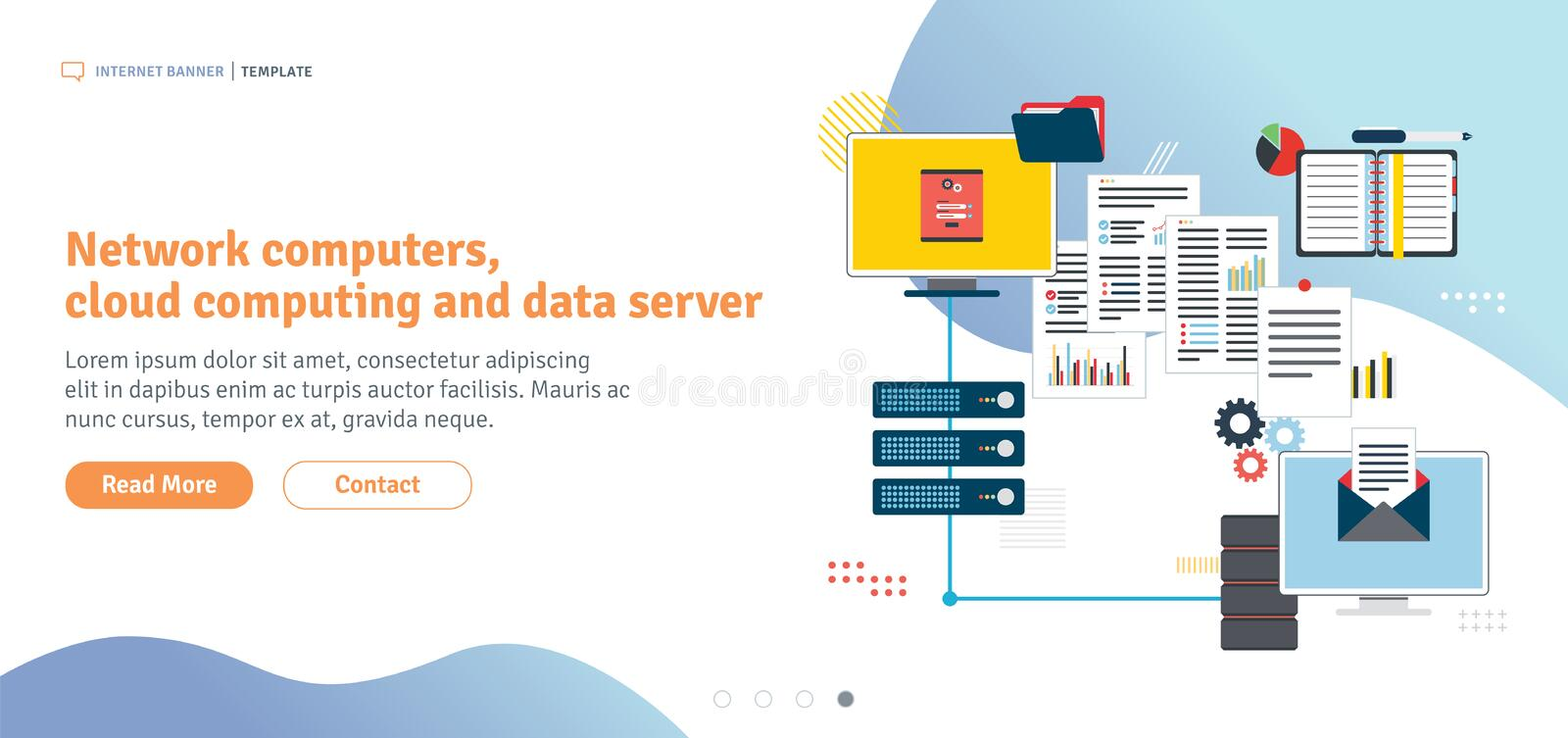 Network computers, cloud computing and data server vector illustration
