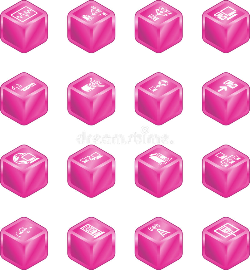Network Computing Cube Icons S vector illustration