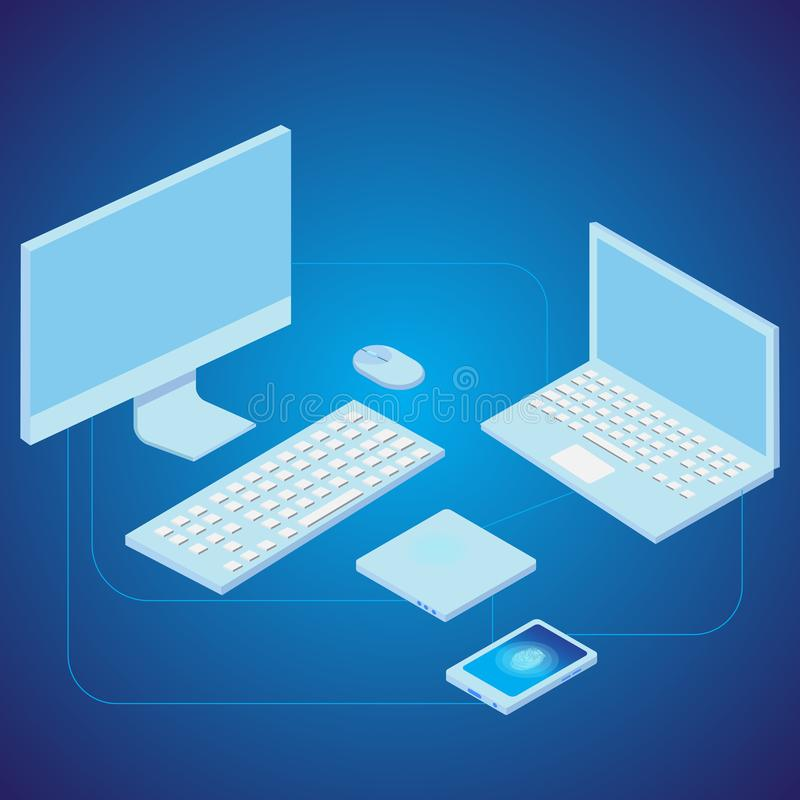 Network concept with laptop, computer, smart phone and router. Vector.  stock illustration