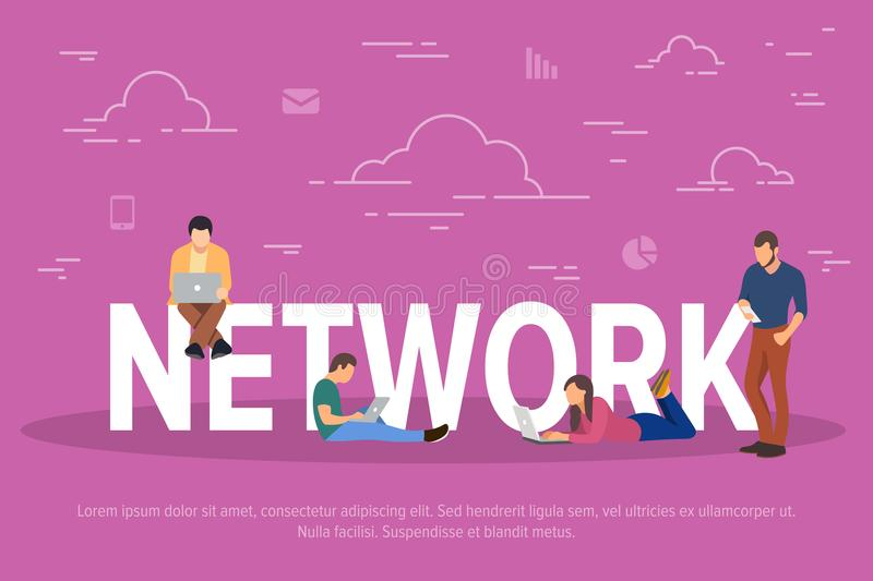 Network concept vector illustration. Business people using devices for work through the network. Flat concept of young stock illustration