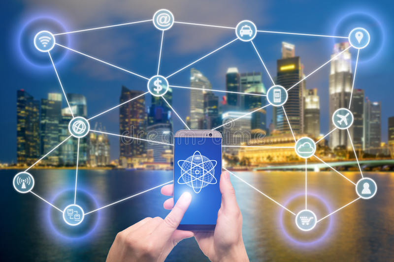 Network of connected mobile devices such as smart phone, tablet, thermostat or smart home. Internet of things and mobile stock photos