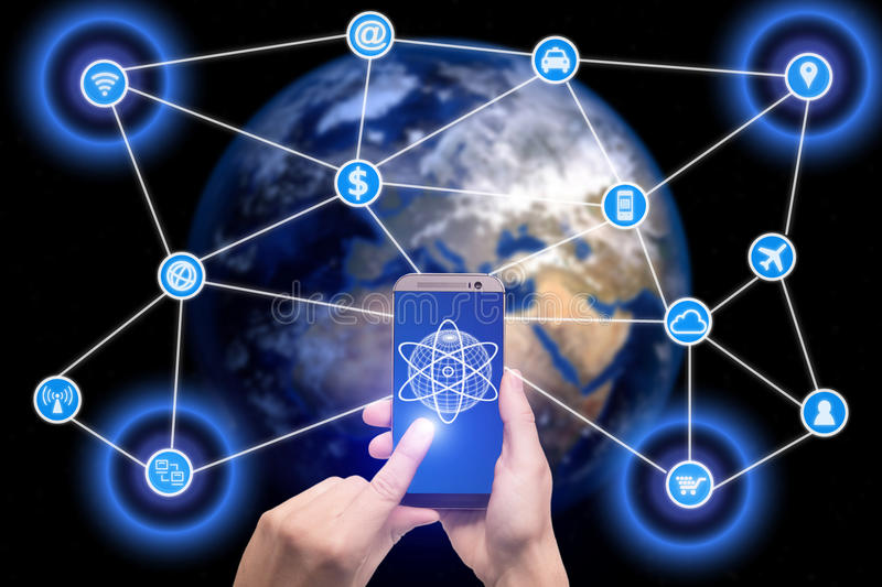 Network of connected mobile devices such as smart phone, tablet, thermostat or smart home. Internet of things and mobile stock photography