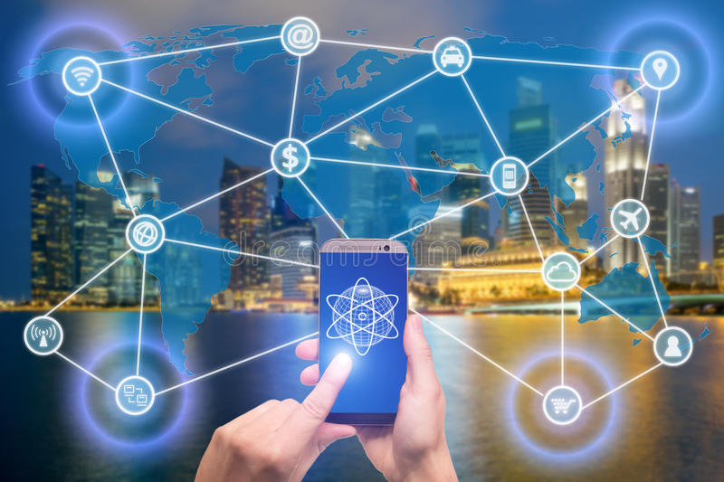 Network of connected mobile devices such as smart phone, tablet, thermostat or smart home. Internet of things and mobile royalty free stock images
