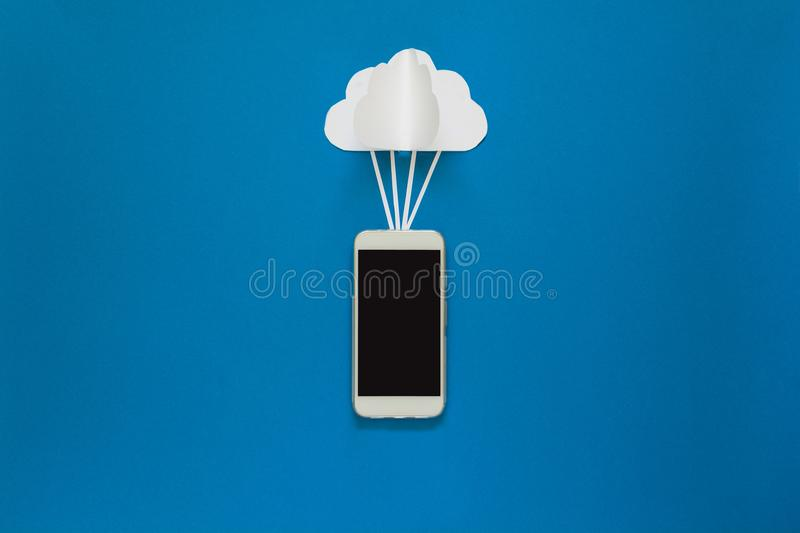 Network connection and cloud storage technology concept. Data communications and cloud computing network concept. Smart phone flyi stock image