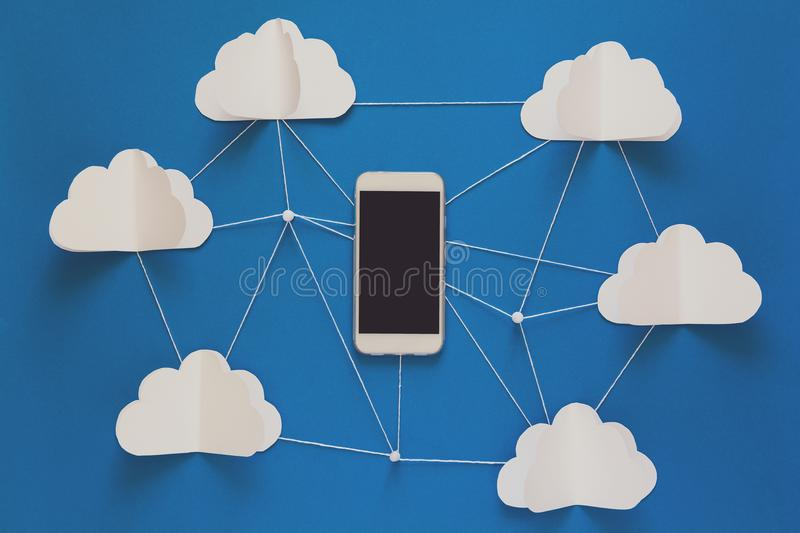 Network connection and cloud storage technology concept. Data communications and cloud computing network concept. stock images