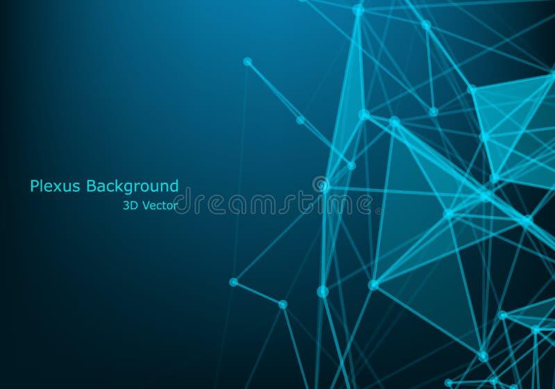 Network connection concept black background vector illustration. Futuristic concept. 3d landscape. Big data digital background stock illustration
