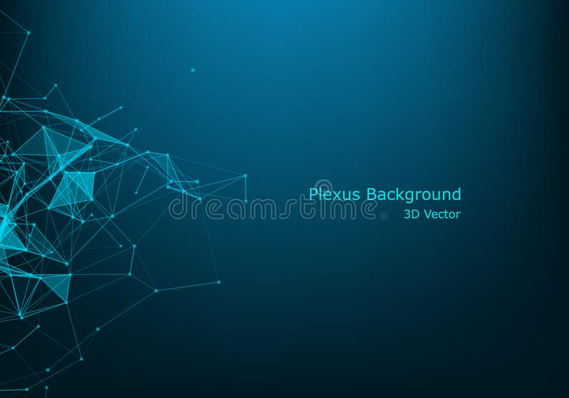 Network connection dots and lines. Technology background. Plexus. Big data background. Illustration. Background Polygonal Cyber Structure. Data Connection royalty free illustration