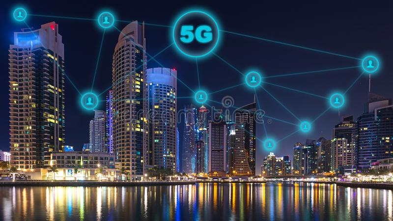 Network connection of future technology with 5g wireless and internet networking sign in night cityscape, communication in city stock illustration