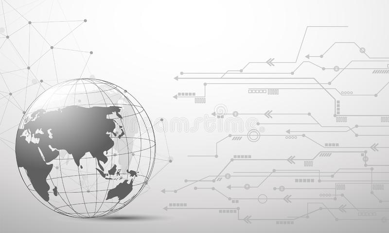 Network connection line composition concept mesh, earth vector. Eps.10 royalty free illustration