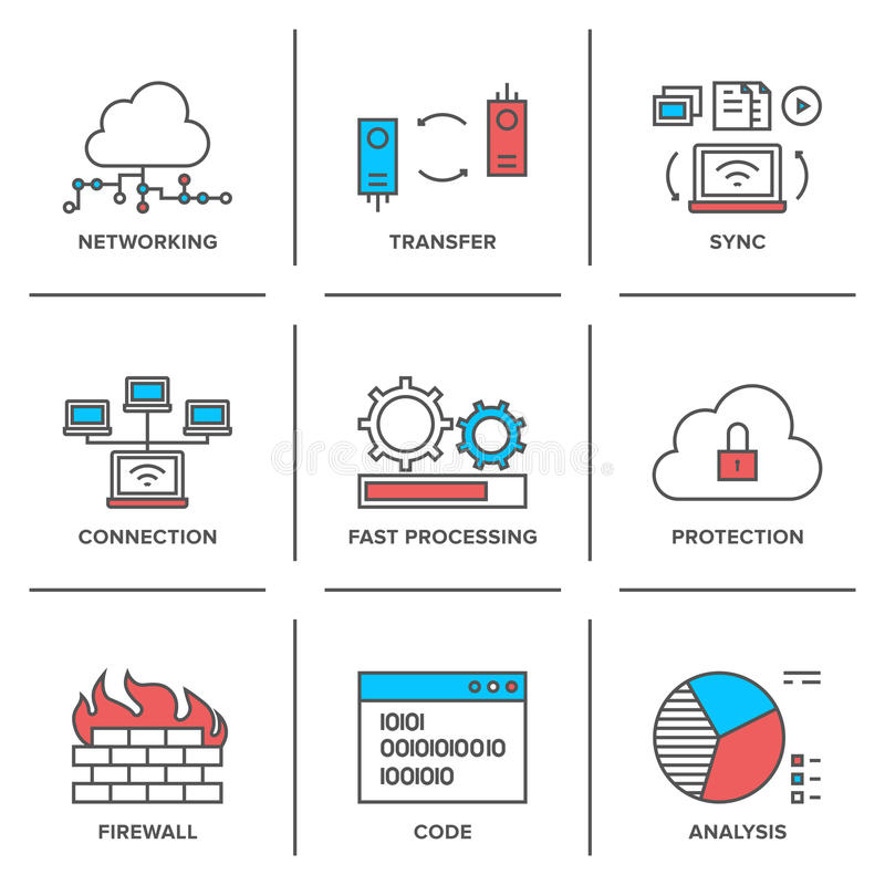 Network and connection line icons set. Flat line icons set of cloud computing network connection, big data transfer, firewall protection, wireless communication royalty free illustration