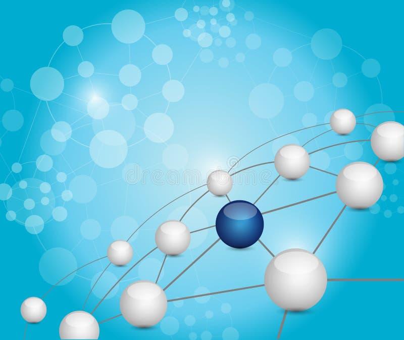 Network connection links over an atom network. Illustration design over a blue background stock illustration