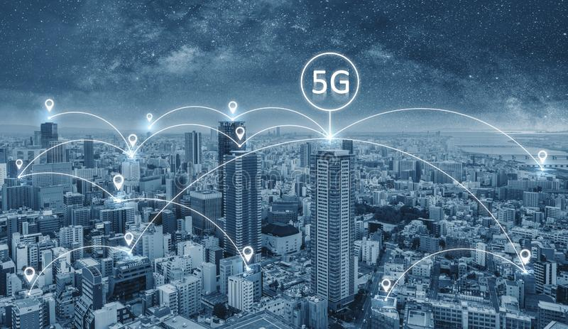 Network connection technology in the city, with 5g internet networking sign stock photography